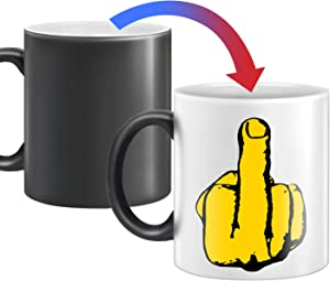 Heat Changing Middle Finger Ceramic Coffee Mug 12 oz Mug Have A Nice Funny Day