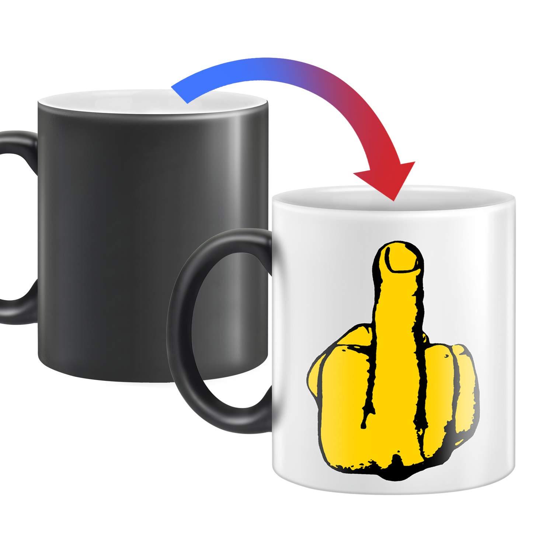 Heat Changing Middle Finger Ceramic Coffee Mug 12 oz Mug Have A Nice Funny Day