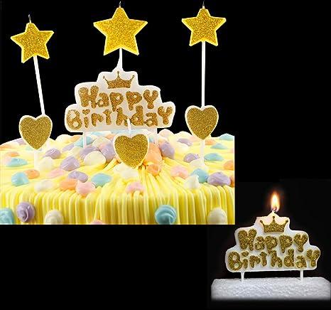 Amazon.com: T-shin - Juego de velas de cumpleaños con diseño ...