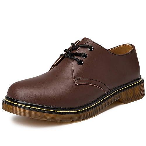 Hombres Botas Martens Casual Cuero Trabajo Seguridad Zapatos Hombre Moda Al Aire Libre Mocasines Baja Superior CordóN-para Arriba Plano Mocasines: ...