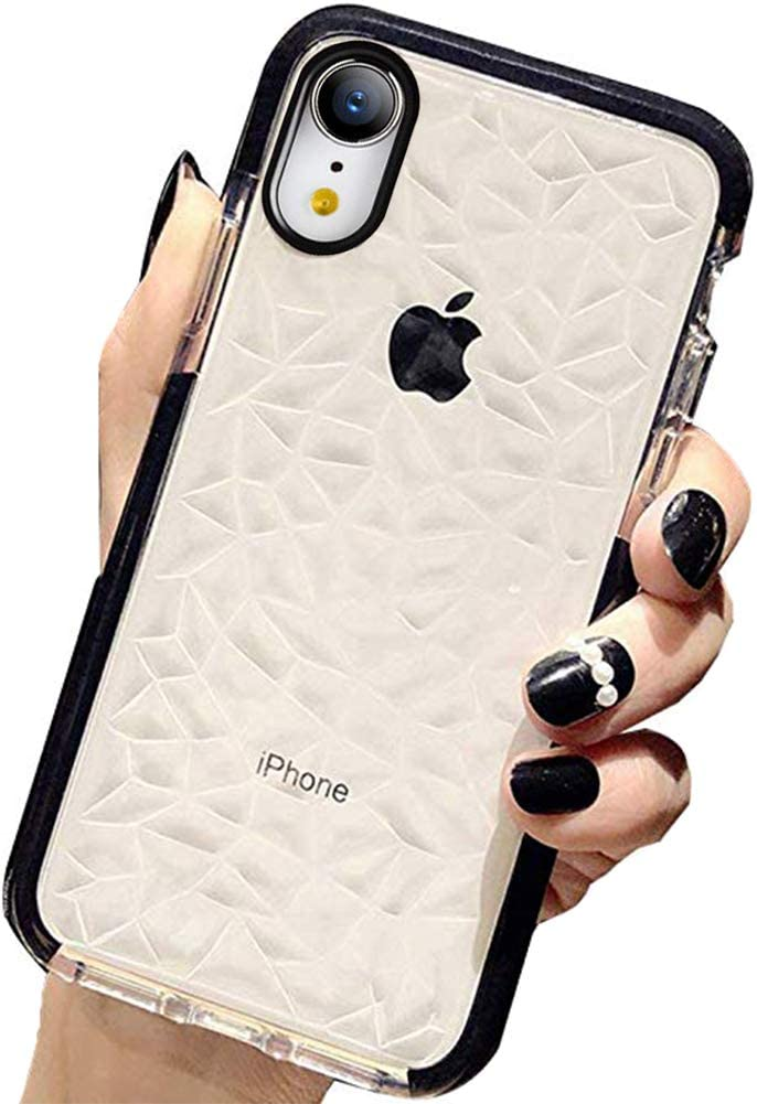 KUMTZO Compatible iPhone XR Case, Crystal Clear Slim Diamond Pattern Soft TPU Anti-Scratch Shockproof Protective Cover for Women Girls Men Boys with iPhone XR 6.1 inch - Black