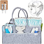 Putska Diaper Caddy Organizer: Portable Wipes Holder Bag For Changing Table And Car, Nursery Essentials Storage Basket–With 2 Pacifier Clips, 2 Bibs