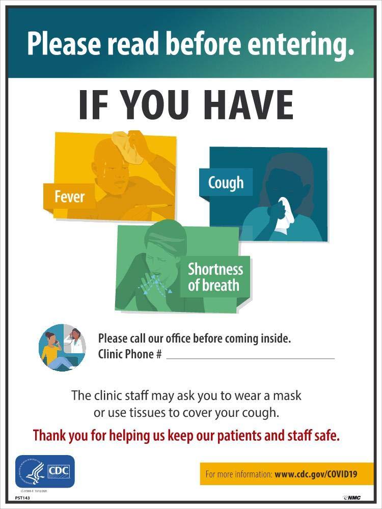 24 x 18 NMC PST143 COVID-19 Symptoms Poster
