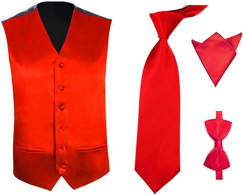 TOPTIE Men's 4 Pcs Tuxedo Vest, Bowtie, Neck tie, Handkerchief Set