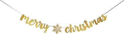 Festive Winter Wonderland Snowflake Glitter Banner Gold Silver Christmas Sign Garland Bunting Script Lettering Decoration Holiday Season
