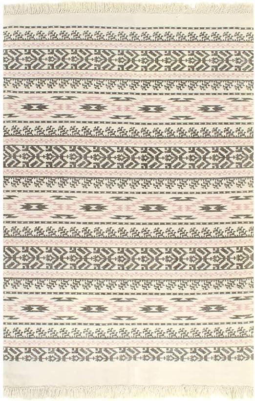 XINGLIEU Alfombra Kilim de algodón 120 x 180 cm con Motivos Gris/Rosa Alfombra Moderna para salón Moderno: Amazon.es: Hogar