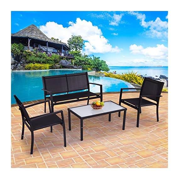 Giantex 4 PCS Outdoor Patio Furniture Set Sofa Loveseat Tee Table Garden Yard Pool Side - Durable Textile-- The chair surface material is textile. It is the best material for making outdoor furniture. It is aging resistant, waterproof and oil-proof. You can use it for a long time. Big Table Size-- The tea table is big enough for your daily use. It is available for holding any cups, fruits, snacks, newspaper, magazines etc. Reinforced Steel Frame-- The table and chair set uses reinforced steel bars as frame. It does not wobble or damage easily. It is a stable and solid enough for your daily use. You don't have to replace it annually. - patio-furniture, patio, conversation-sets - 61Vt2IVYb8L. SS570  -