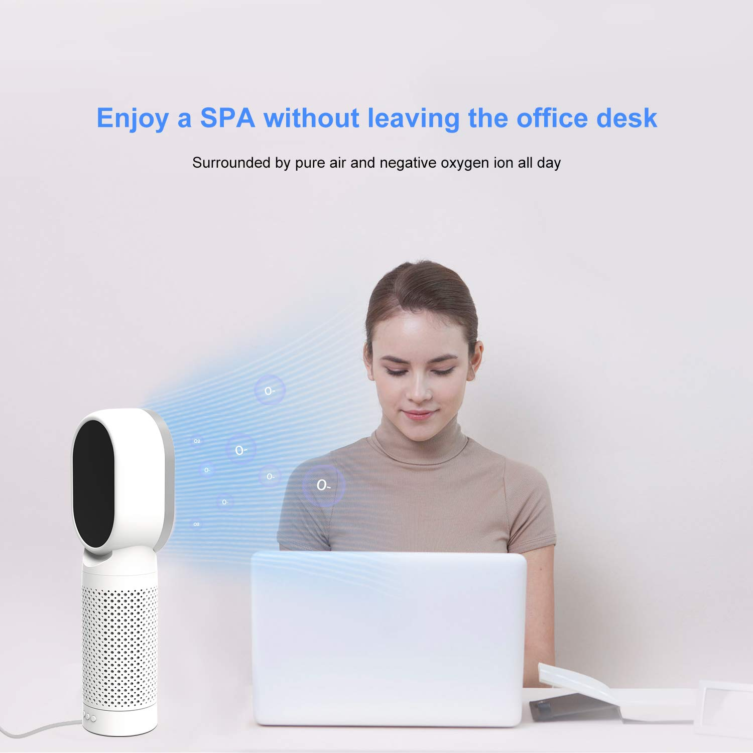 QUEENTY Desktop Air Cleaner with True HEPA Filter - Portable Air Purifier Odor Allergies Eliminator for Smoke, Dust, Bedroom, Home, Office and Pets (White)