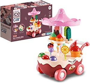 HTHONOR . TRUST Automatic Walking Small Ice Cream Truck for Girls Boys Boys 3 4 5 6 Years Old Toddlers Pretend Play Kitchen Kids Toy Food Cart with Light and Music