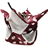 WOWOWMEOW Small Animal Cage Hanging Bunkbed Hammock Warm Fleece Bed for Sugar Glider Ferret Squirrel (Burgundy-Dots)