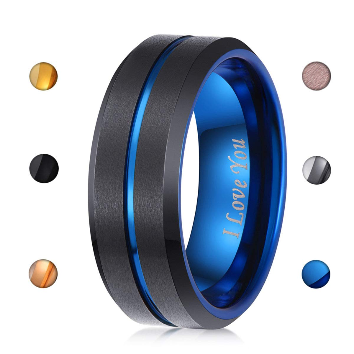 LaurieCinya 8mm Black Tungsten Carbide Wedding Band Blue Engagement Ring Men Women-Brushed Finished–Engraved I Love You Comfort Fit Size 6 to 13