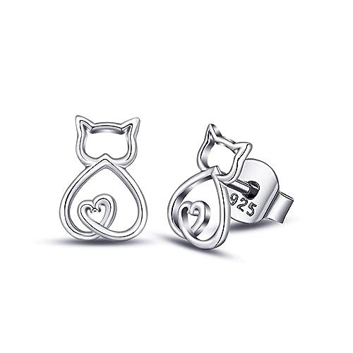 EUDORA Pendientes de Gato de plata de ley 925 con Diseño de Gato ...
