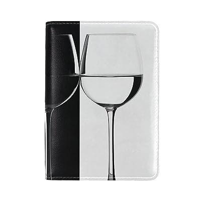Black Glasses Wood Leather Passport Holder Cover Case Travel One Pocket