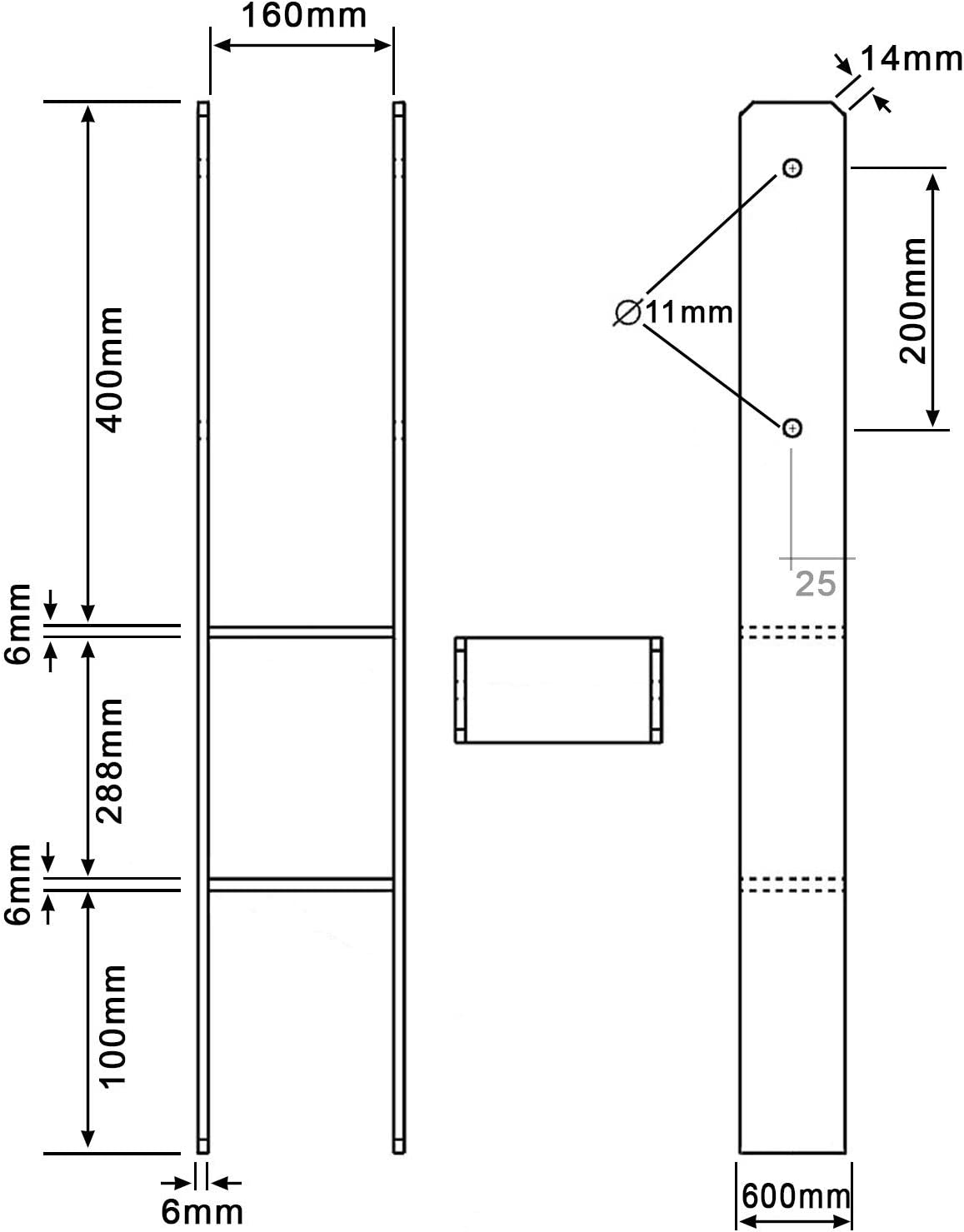 extra lang 1 H-Pfostentr/äger feuerverzinkt 6//800 mm f/ür 120 mm Pfosten