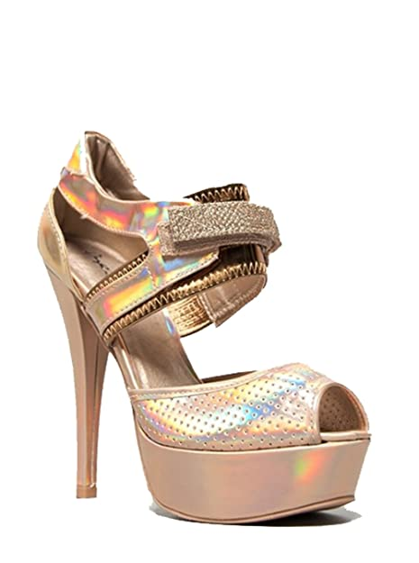 f5c75b65c8 Qupid Velcro Strap Sporty High Heel Sandals Quchance-53x Champagne Hologram  (7.5)