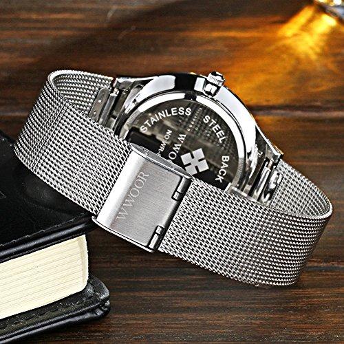 WWOOR Top Luxury Brand Watch Men Ultra Thin Stainless Steel Mesh Band Quartz Fashion Casual Wrist Watches