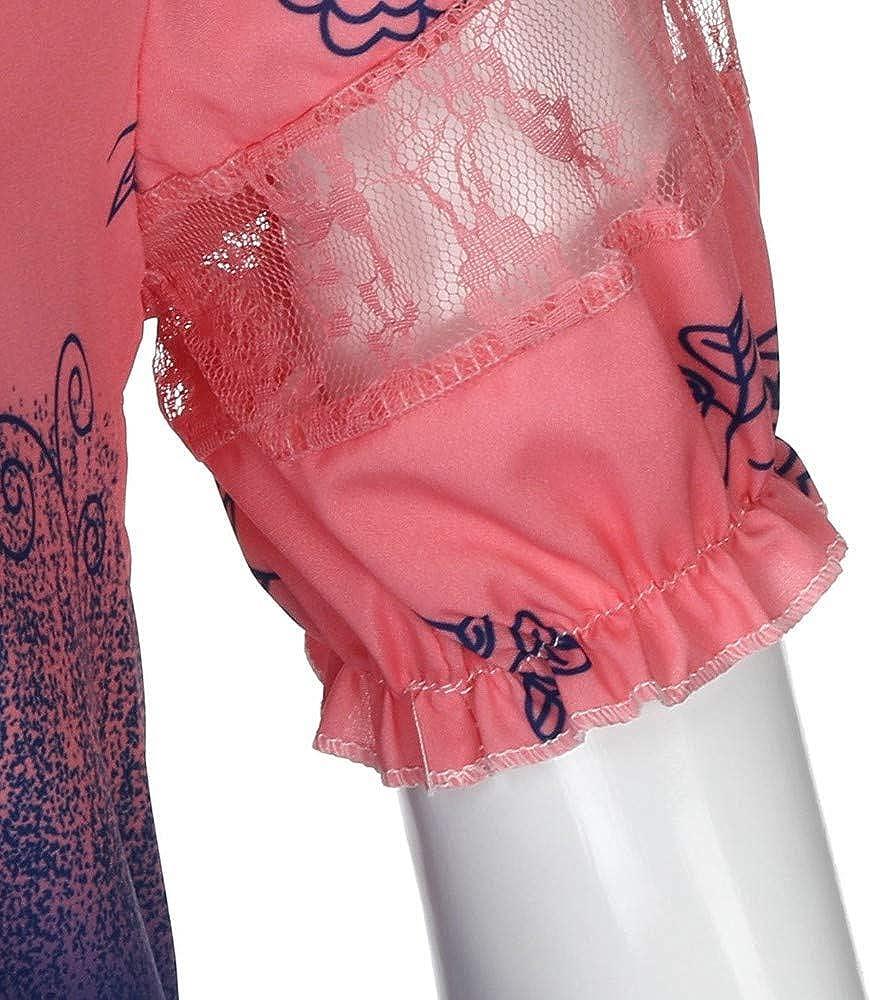 Floral T Shirts for Women Short Sleeve Gradient Tie Dye Lace Patchwork Crewneck Shirts Tops Blouse Plus Size S-5XL