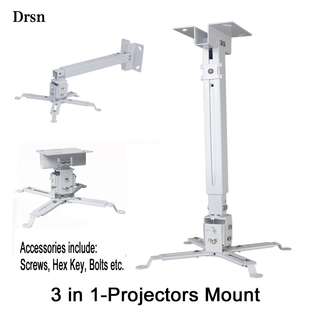 32cm Wall Mount Mini Wall Mount Projector CCTV DVR Camera Mount Projector Hanger with Load 11.02 lbs Mounting Screw Rotation 360/° White for Projector Canera Camcorder Drsn 12.59 inch