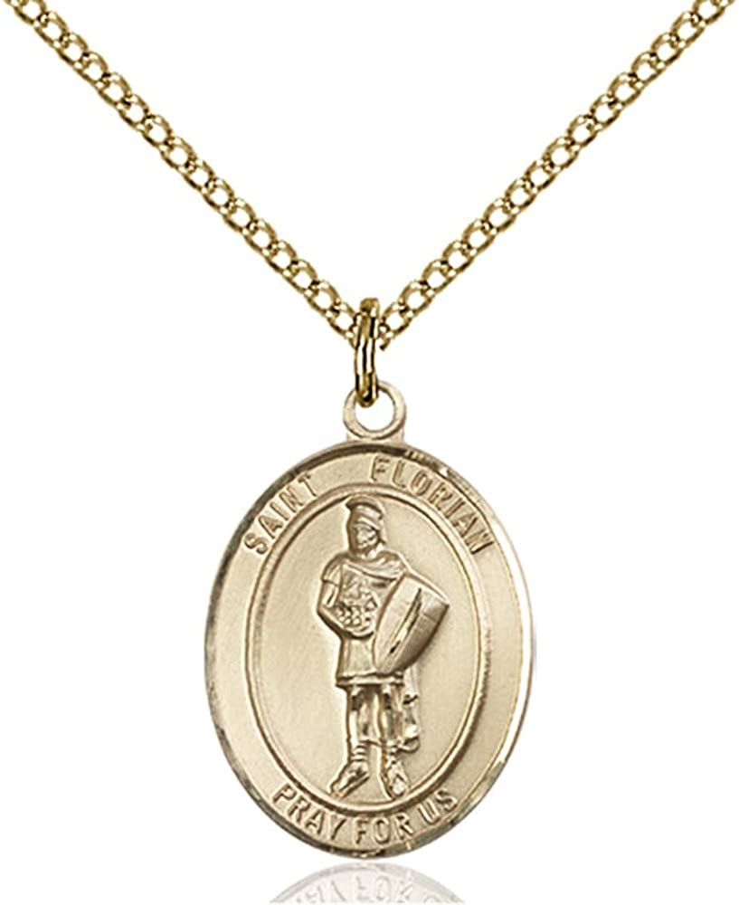 Florian Hand-Crafted Oval Medal Pendant in 14kt Yellow Gold-Filled Bonyak Jewelry St