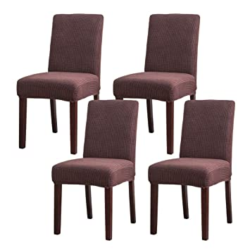 Buy Niceec Easy Fitted Dining Chair Covers Slipcovers Polyester Stretch Removable Washable Kitchen Parson Chair Covers Protector For Dining Room Ceremony Set Of 4 Brown Online At Low Prices In India Amazon In