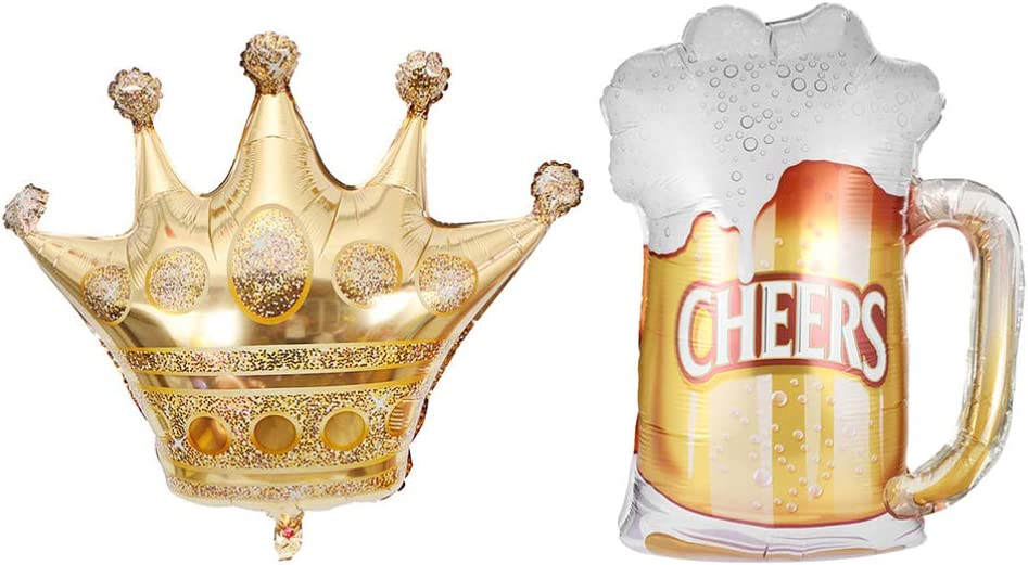 Amosfun 2 Piezas Corona y Taza de Cerveza Globos de Aluminio Globos de Helio Mylar Inflable Corona de Corona Sombrero Accesorios de Fotos para cumpleaños de Boda Baby Shower