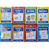 School Zone Flash Cards 8-Pack (Addition, Subtraction 0-10, Multiplication 0-10,Sight Words, & Colors & Shapes Go Fish, Alphabet, Numbers 0-25, Basic Sight Words, & Colors & Shapes