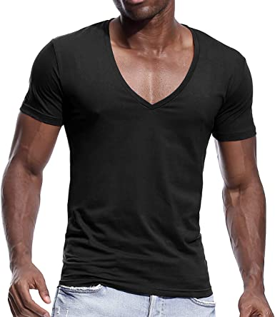 Amazon Com Mens Deep V Neck T Shirts Slim Fit Basic Tee Shirt Short Sleeve Sexy Top Clothing