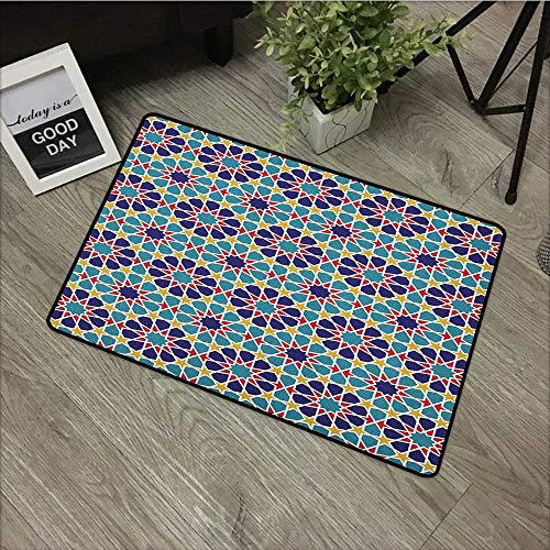- Bathroom mat W19 x L31 INCH Arabian,Retro Illustration Nostalgic Arabesque Antique Geometric Star Baroque Motifs, Red Blue Yellow Natural dye printing to protect your baby's skin Non-slip Door Mat Car