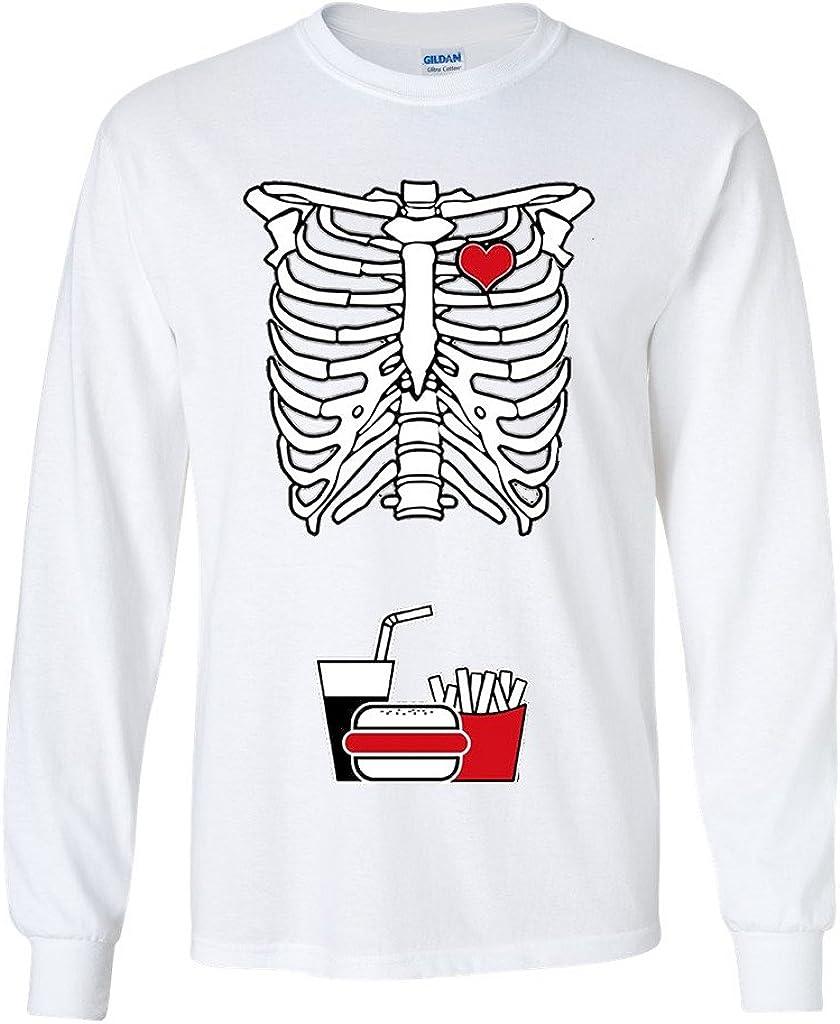 Long Sleeve Adult T-Shirt Skeleton Junk Food Burger Fries Softdrinks Snack Funny DT