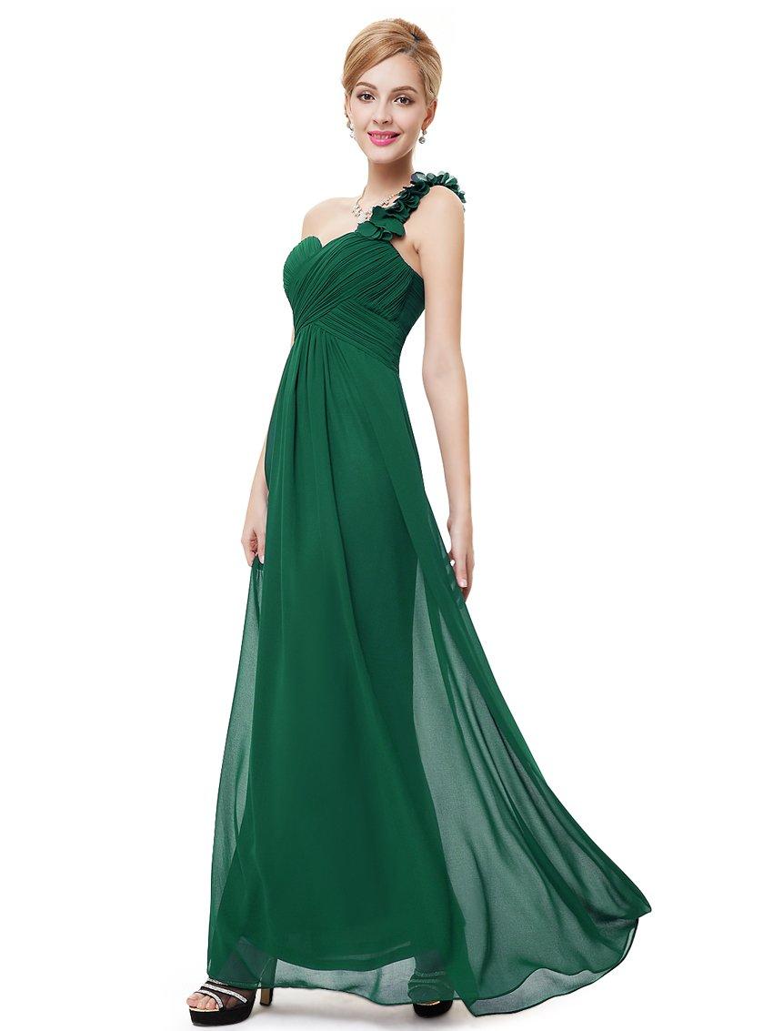 Ever-Pretty Juniors One Shoulder Empire Waist Long Prom Dress 10 US Green