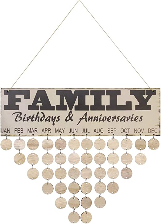 Amazon.com: VORCOOL Family Birthday Calendar Creative Wooden Home