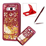 Liquid Clear Case for Samsung Galaxy J510 2016,Glitter TPU Cover for Samsung Galaxy J510 2016,Herzzer Luxury [Red Flower Pattern] Soft Flexible with Electroplated Frame Flowing Sparkle Love Heart Star Crystal Back Case