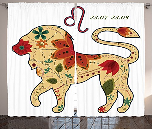 Astrology Decorations Curtains Oriental Retro Floral Astrology Walking Leo Chic Colorful Sun Sign King Artsy Design Living Room Bedroom Decor 2 Panel Set Multi