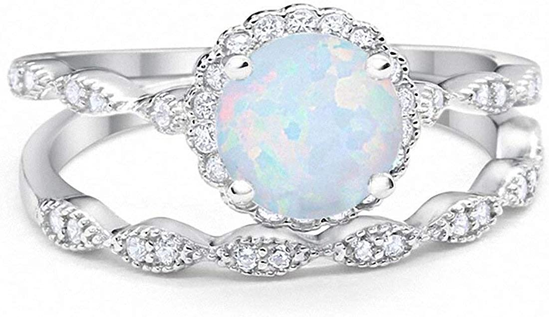Blue Apple Co. Two Piece Art Deco Halo Wedding Engagement Band Ring Round Simulated Cubic Zirconia 925 Sterling Silver