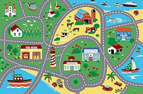 Furnish my Place City Street Map Children Learning Carpet/Kids Rugs Boy Girl Nursery/Bedroom/Playroom/Classrooms Play Mat, Rectangle, 3'3'' L by Furnish my Place (Image #2)