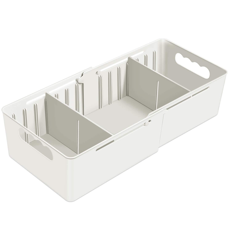 HEYIDA 3 Section Organizer Divider Plastic Drawer Closet Desk Small Organizers and Storage Adjustable /& Expendable Underwear White Ties Sock Bathroom Office Dresser