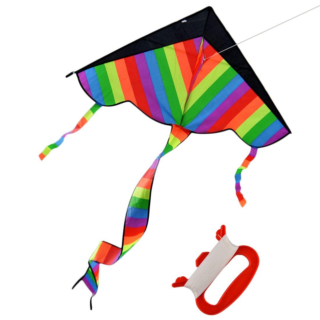 arcobaleno Aquiloni, Hipsteen 113 * 62cm Sky Dancer Outdoor giocattolo Kite poliestere 600D in fibra di vetro triangolo Aquilone con Long Tail