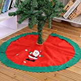 """Marry Acting Holiday Time Christmas Decor 35"""" Red Santa Claus Christmas Tree Skirt with Green Trim"""