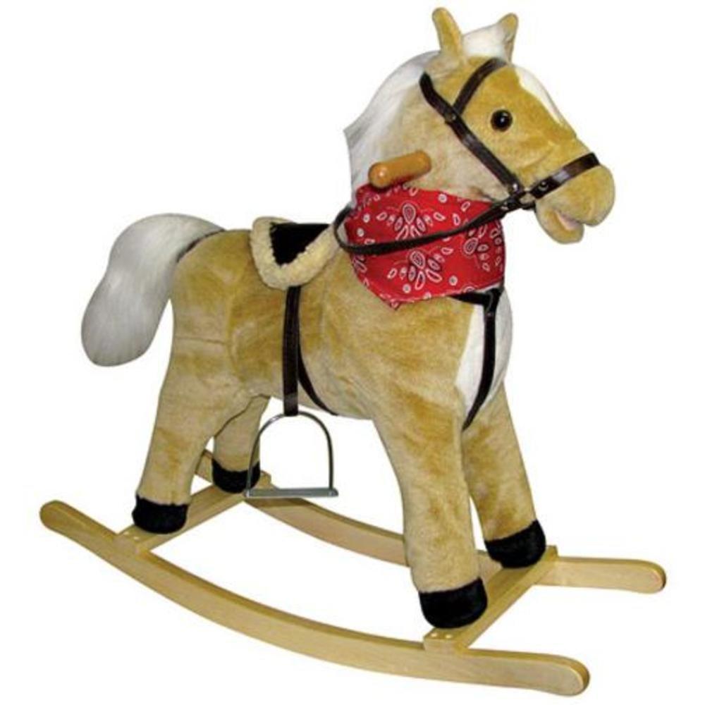 amazoncom charm company blonde horse rocker moving mouth  tail  - amazoncom charm company blonde horse rocker moving mouth  tail ride ontoys  games