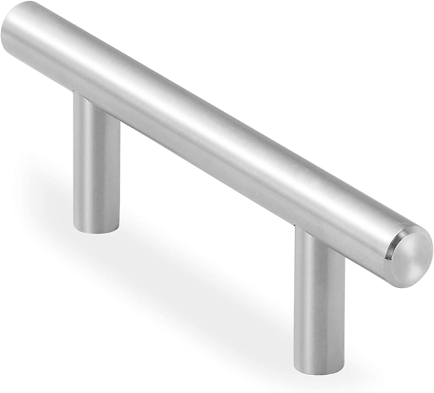 Cauldham 25 Pack Solid Stainless Steel Euro Bar Cabinet Handle Pull - 3 Inch Hole Centers, 5-3/8 Inch Overall
