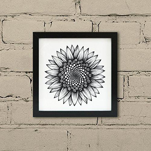 Framed Sunflower print - floral Fibonacci art illustration