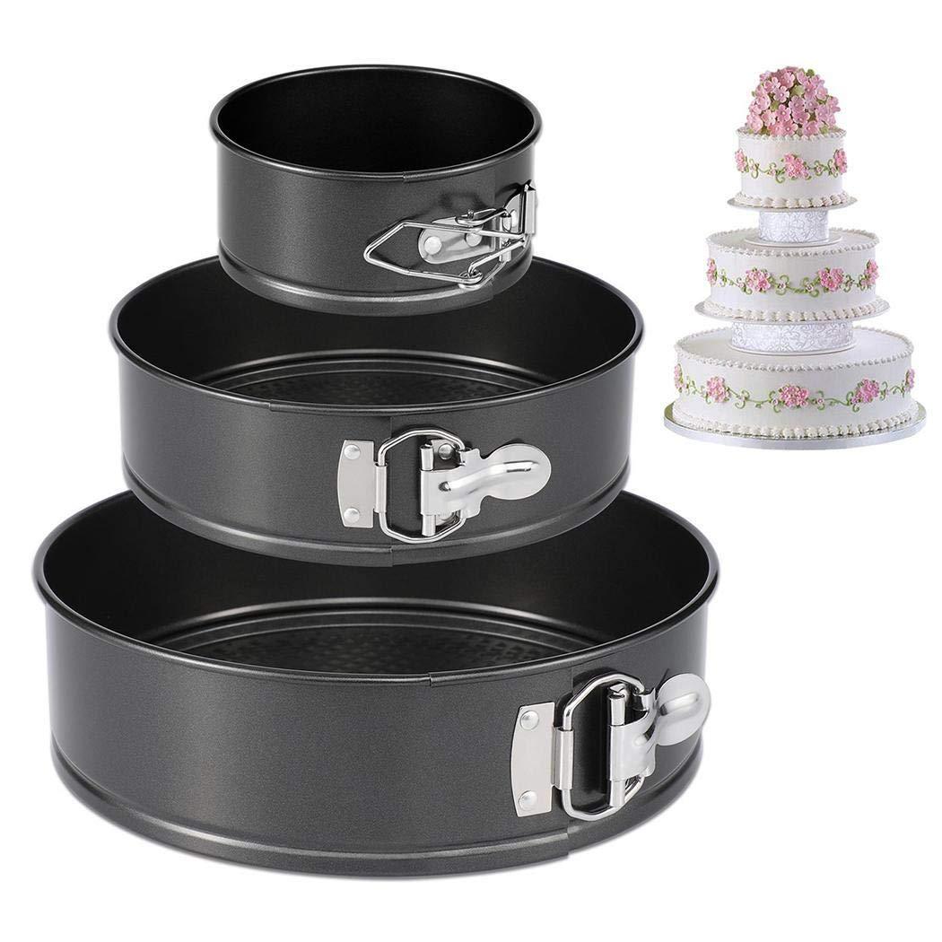 3Pcs/Set Kitchen Springform Multilayer Wedding Birthday Baking Cake Tins, 4inch/7inch/9inch Nonstick Leak-proof Round Cheesecake Pan Kit (1Set (4/7/9inch)) by Nessere (Image #9)