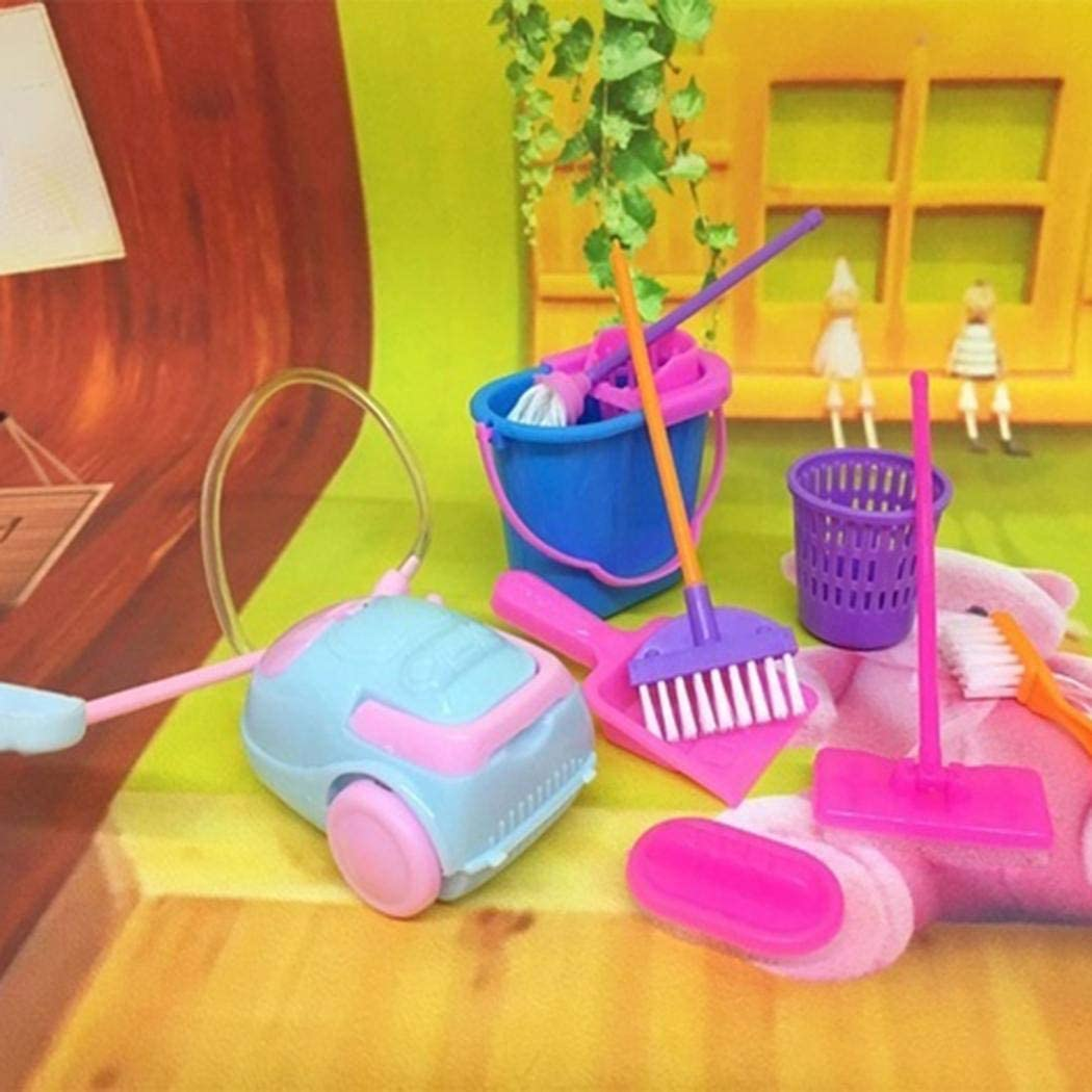 samifa 9Pcs Kids Children Simulation Cleaning Supplies Set Puzzle Early Education Toys Washing Machines US Stock