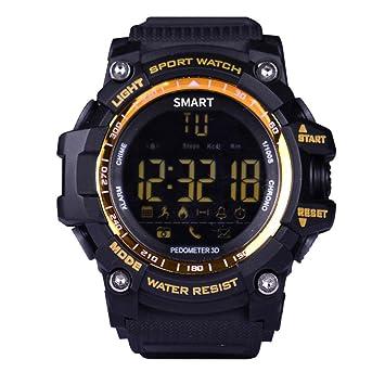 Longra Reloj Relojes Deportivos Inteligentes Digitales Reloj Bluetooth Fitness Tracker para iOS y Android (Dorado): Amazon.es: Deportes y aire libre
