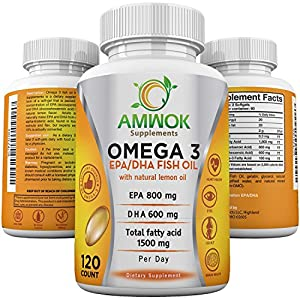 Omega 3 Fish Oil Vitamin, Maximum Strength Dietary Supplement, For Cardiovascular Health, Joint Pain & Inflammation, EPA-800mg DHA-600mg Essential Fatty Acid Lemon flavor for Better Taste, 120 Softgel
