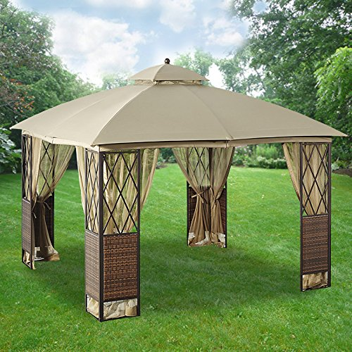 Garden Winds 10′ x 10′ Wicker Gazebo Replacement Canopy Top Cover – RipLock 350 For Sale