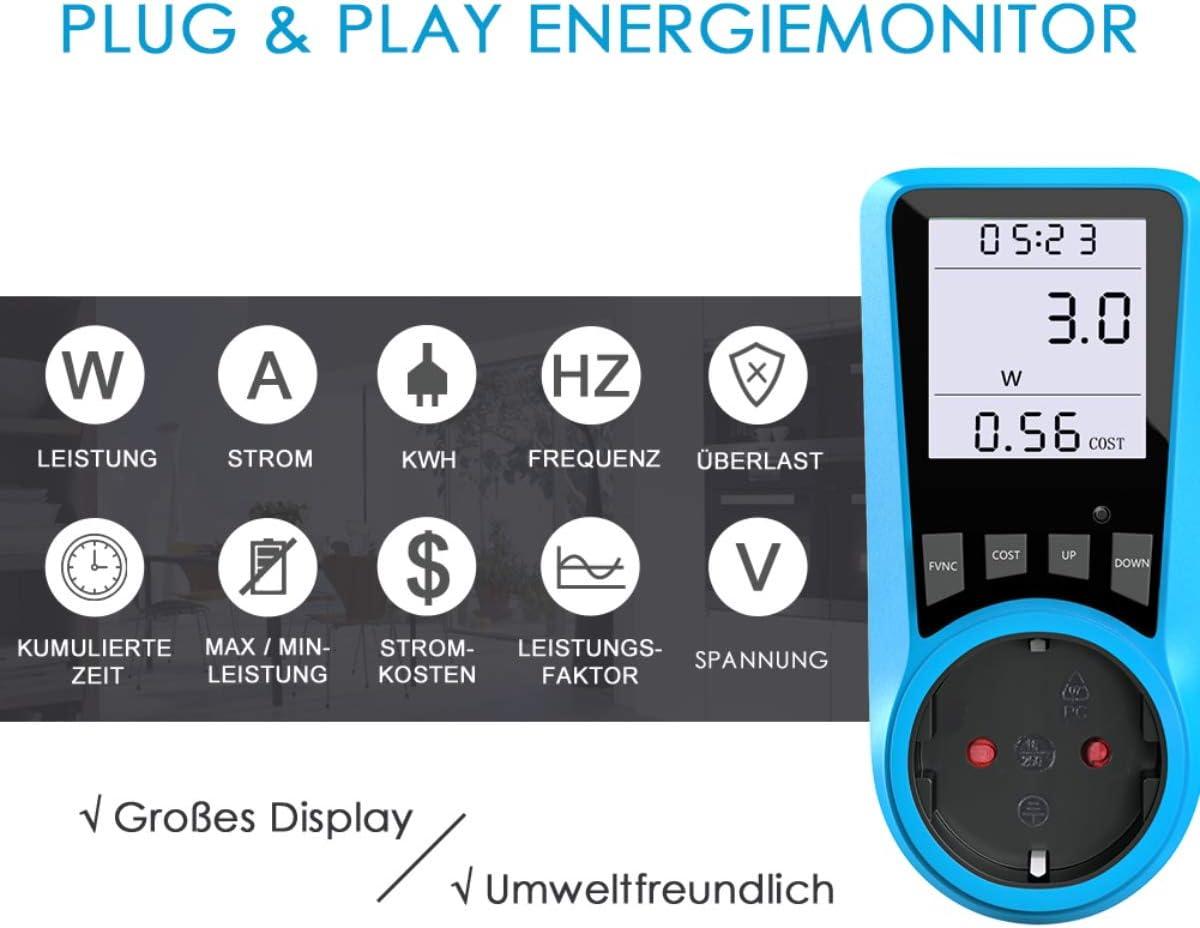 Azul 1 unidad medidor de costes de energ/ía BMK medidor de potencia Medidor de costes de electricidad con pantalla LCD grande protecci/ón de sobrecarga 3680 W medidor de potencia