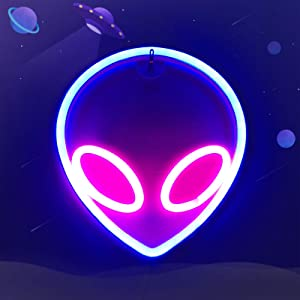 LED Neon Sign Alien Light for Bedroom Decor Night Lamp Wall Signs USB Powered Neon Art Decoration Boys Girls Party Lights Cosmic Element Accessory (Blue Pink)
