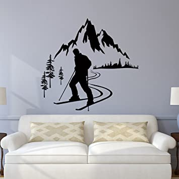 Amazon.com: Skier Wall Decal, Winter Sports Wall Decals, Mountain ...