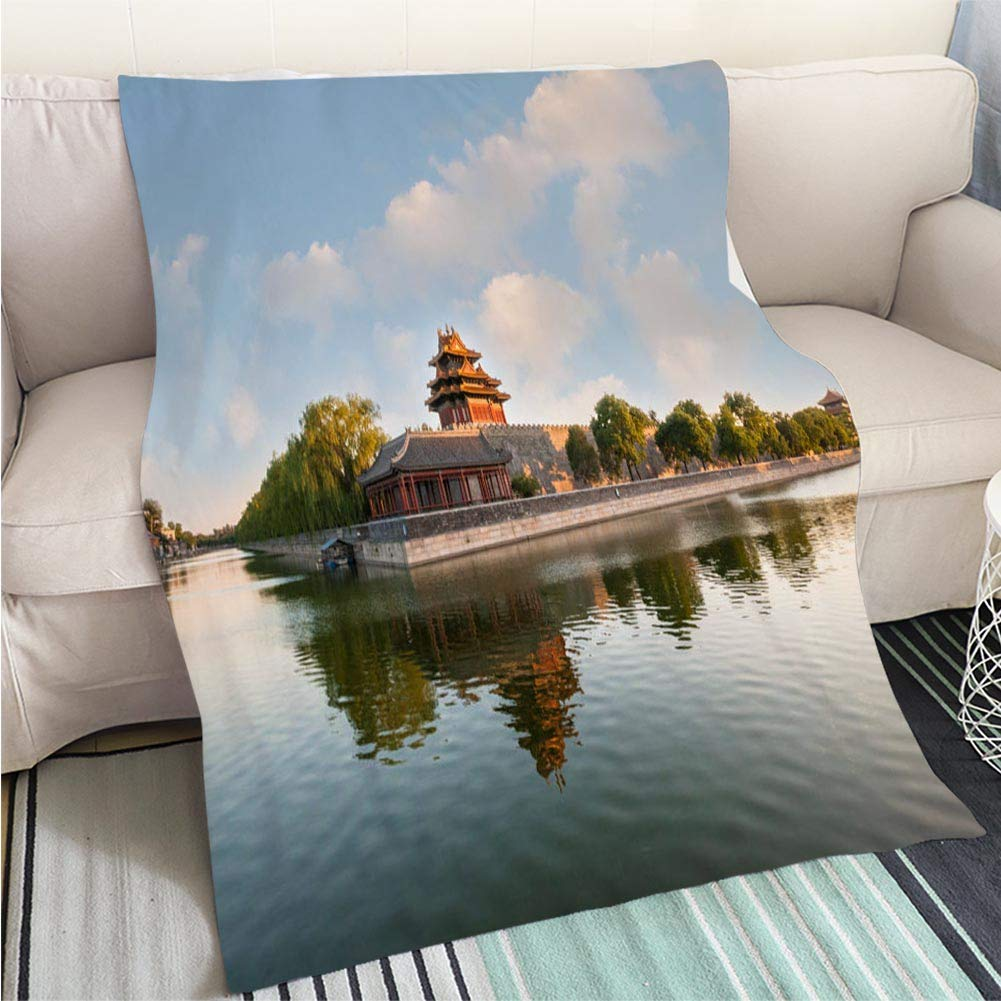 color15 47 x 59in BEICICI Super Soft Flannel Thicken Blanket Watchtower of Forbidden City at Sunset Beijing Sofa Bed or Bed 3D Printing Cool Quilt